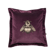 Colour Black & Pale Gold Bee on Aubergine Velvet